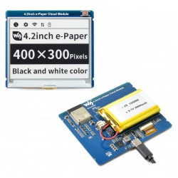 4.2inch E-Paper Cloud Module, 400×300, ESP32 WiFi Connectivity, 3000mAh Battery Included