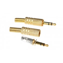 3.5mm Stereo Audio Plug - Gold Plated - Spring End