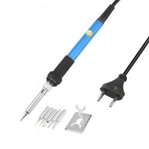 60W Soldering Iron - Adjustable Temperature - Ceramic Element - 5 Iron Tips - Soldering Stand