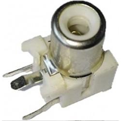 RCA-103P - Single Channel AV RCA Female Connector - PCB Mount - 3 Pin - WHITE Color