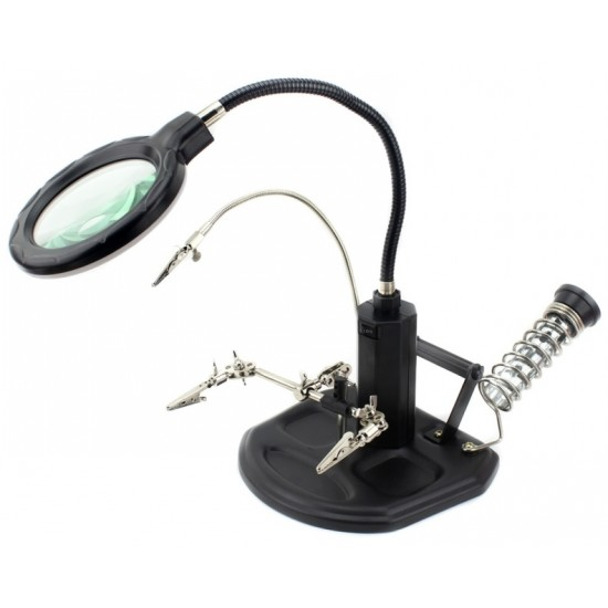 Helping Hand Tool Station - 16 LED Illuminated Magnifier with 2.5x 4x Zoom - Long Flexible Metal Neck
