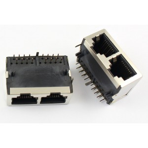 RJ45 - Dual 8P8C Modular Socket - Dual Ethernet LAN Connector