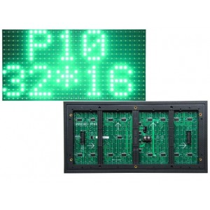 P10 Green Outdoor LED Dot Matrix Panel - 32x16 LEDs - 12x6 inches - HUB12 - 1/4 Scan