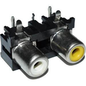 Dual Channel RCA Jack Connector Right Angle PCB Mount - Stereo RCA Jack - White + Yellow