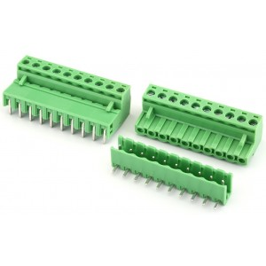 10P Pluggable Screw Terminal Block Connector - Right Angle - 5.08mm Pitch - 2EDG5.08 - Set of M+F