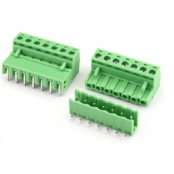 7Pin Pluggable Screw Terminal Block Connector - Right Angle - 5.08mm Pitch - 2EDG5.08 - Set of M+F