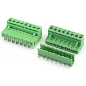 8 Pin Pluggable Screw Terminal Block Connector - Right Angle - 5.08mm Pitch - 2EDG5.08 - Set of M+F