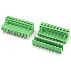 9 Pin Pluggable Screw Terminal Block Connector - Right Angle - 5.08mm Pitch - 2EDG5.08 - Set of M+F