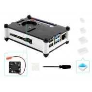 Black/White Acrylic Case for Raspberry Pi 4 with 1x Cooling Fan and 4x Heat Sinks
