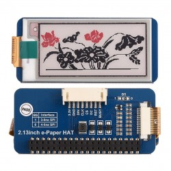 212x104, 2.13inch E-Ink display HAT(B) for Raspberry Pi three-color white / red / black , SPI interface