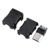 Micro USB 5 Pin Male Plug with Enclosure