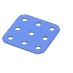 Flat Square Metal Plate - 3 x 3 Holes - Blue