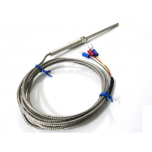 PT100 RTD Probe - 2mtr Cable - Stainless Steel Probe 6mm Dia : -50ºC to 400ºC - 3 Pin