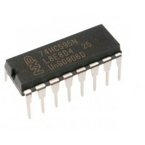 74HC595 - 8-bit serial-in, serial or parallel-out shift register, DIP-16
