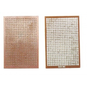 """General Purpose Hole PCB - 0.01"""" - 2.54mm Pitch - 2x3 inch - Tinned Pads"""