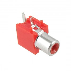 Right Angle Single Female Jack RCA Socket - Red - PCB Mount
